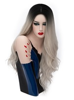Hot Sale Cosplay Light Gray Long Kinky Curly Synthetic Capless Hair Wig 28 Inches
