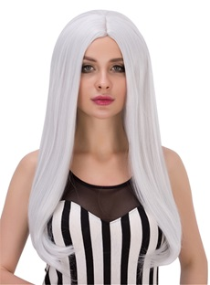 Nature White Straight Synthetic Hair Capless Wigs 24 Inches