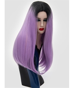 Cosplay Straight Dark Root Purple Color Wigs