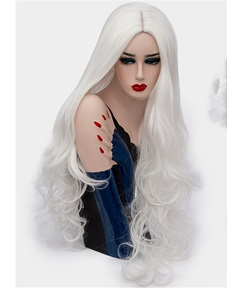 Attractive Polished Long Big Curly Mid Part Synthetic Hair Capless Cosplay Wigs 32 Inches