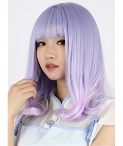 Japanese Lolita Style Curly Fluorescence Color Cosplay Wigs 28 Inches