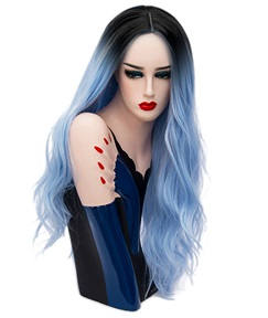 Hot Sale Cosplay Light Blue Long Kinky Curly Synthetic Capless Hair Wig 28 Inches