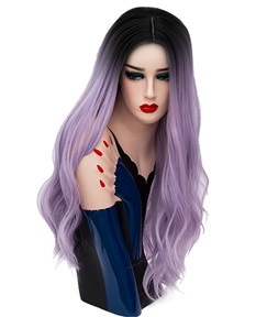 Hot Sale Cosplay Light Purple Long Kinky Curly Synthetic Capless Hair Wig 28 Inches