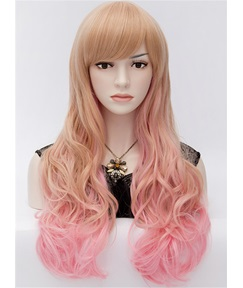 Lovely Harajuku Mixed Colored Long Wavy Party Wig 28 Inches