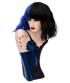Medium Dark Blue Black Kinky Curly Bob With Bangs Hair Synthetic Hair Capless Cosplay Wigs 12 Inches