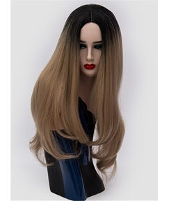 Long Ombre Black Brown Popular Wavy Synthetic Hair Capless Cosplay Wigs 30 Inches