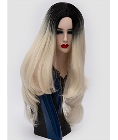 Long Ombre Black Blond Wavy Synthetic Hair Capless Cosplay Wigs 30 Inches