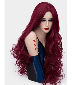 Fascinating Sexy Long Big Curly Mid Part Synthetic Hair Capless Cosplay Wigs 32 Inches