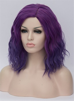 Medium Purple Ombre Kinky Curly Synthetic Hair Capless Cosplay Wigs 14 Inches