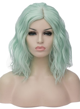 Medium Light Green Kinky Curly Synthetic Hair Capless Cosplay Wigs 14 Inches