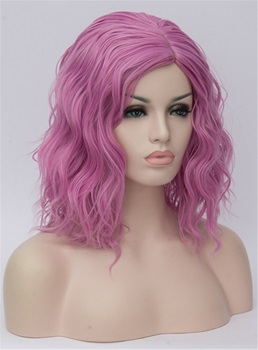 Medium Dirty Pink Kinky Curly Synthetic Hair Capless Cosplay Wigs 14 Inches