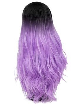 Hot Sale Cosplay purple Long Kinky Curly Synthetic Capless Hair Wig 28 Inches