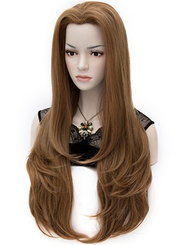 Layered Heat-Resistant Flaxen Brown Natural Wavy Wig 30 Inches