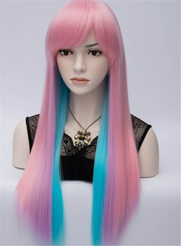 Club Party Rainbow Long Straight Women's Cosplay Wig 28 Inches