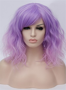 Short Wave Purple Color Cosplay Wigs 14 Inches