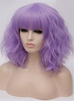 Full Fringe Purple Medium Wavy Capless Synthetic Wig 14 Inches