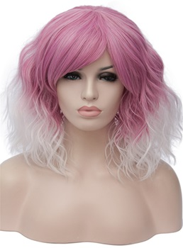 Mixed Color Short Wavy Capless Synthetic Wig 14 Inches