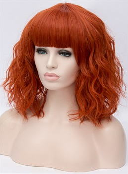 Full Fringe Orange Medium Wavy Capless Synthetic Wig 14 Inches