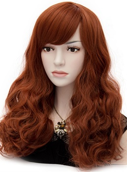 Western Fashion Long Curly Reddish Brown Mermaid Cosplay Party Wig 20 Inches