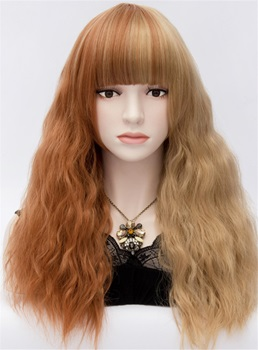 Japanese Harajuku Lolita Fashion Two-Tone Brown Curly Cosplay Party Wig 24 Inches