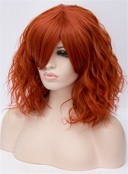 Orange Short Wavy Capless Synthetic Wig 14 Inches