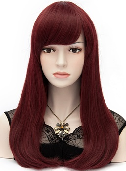 Elegant Long Natural Straight Burgundy Cosplay Wig 24 Inches