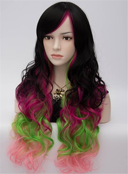 Harajuku Fashion Cool Sexy Long Wavy Mixed Colored Wig 28 Inches