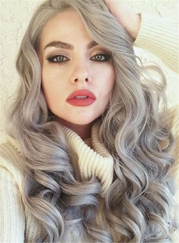 Grey Big Curly Hair Lace Front Synthetic Wig 24 Inches