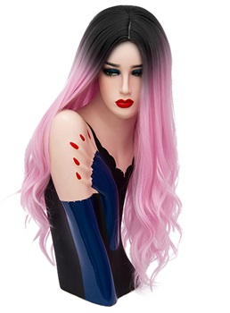 Hot Sale Cosplay Pink Long Kinky Curly Synthetic Capless Hair Wig 28 Inches