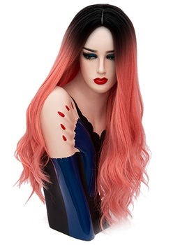 Hot Sale Cosplay Dirty Pink Long Kinky Curly Synthetic Capless Hair Wig 28 Inches