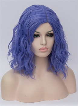 Medium Blue Kinky Curly Synthetic Hair Capless Cosplay Wigs 14 Inches