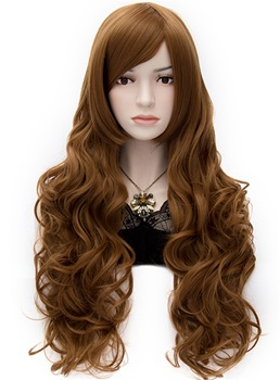 Sexy Anastasia Rich Brown Long Wavy Wig with Side Swept Bangs 32 Inches