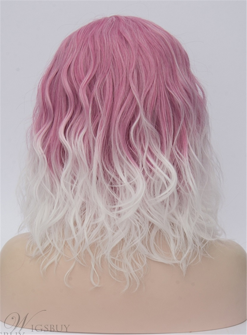 Medium Pink White Kinky Curly Synthetic Hair Capless Cosplay Wigs 14 Inches