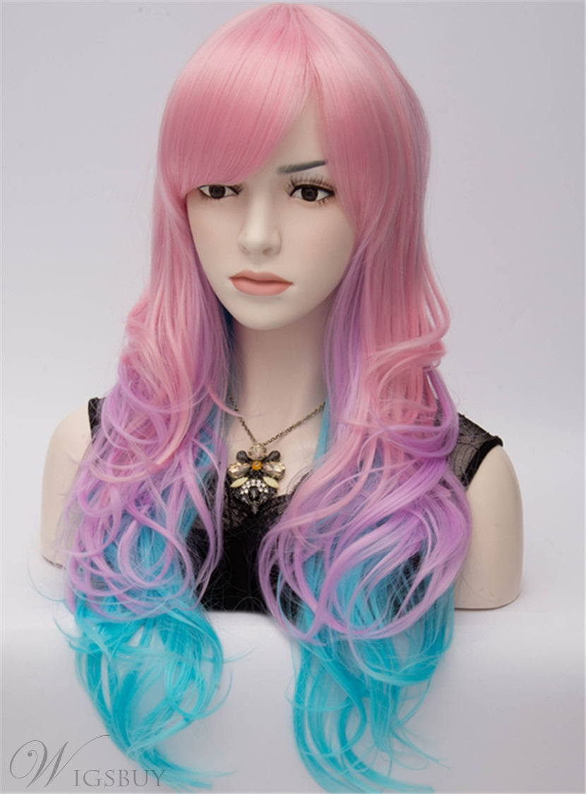 Eye Catching Long Wavy Pink And Blue Cosplay Party Wig 28