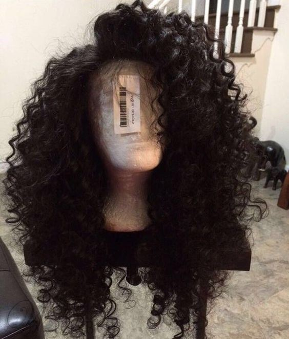 Kinky Curly Fluffy Super Long Synthetic Hair Lace Front Cap For African American Women Wigs 30 Inches