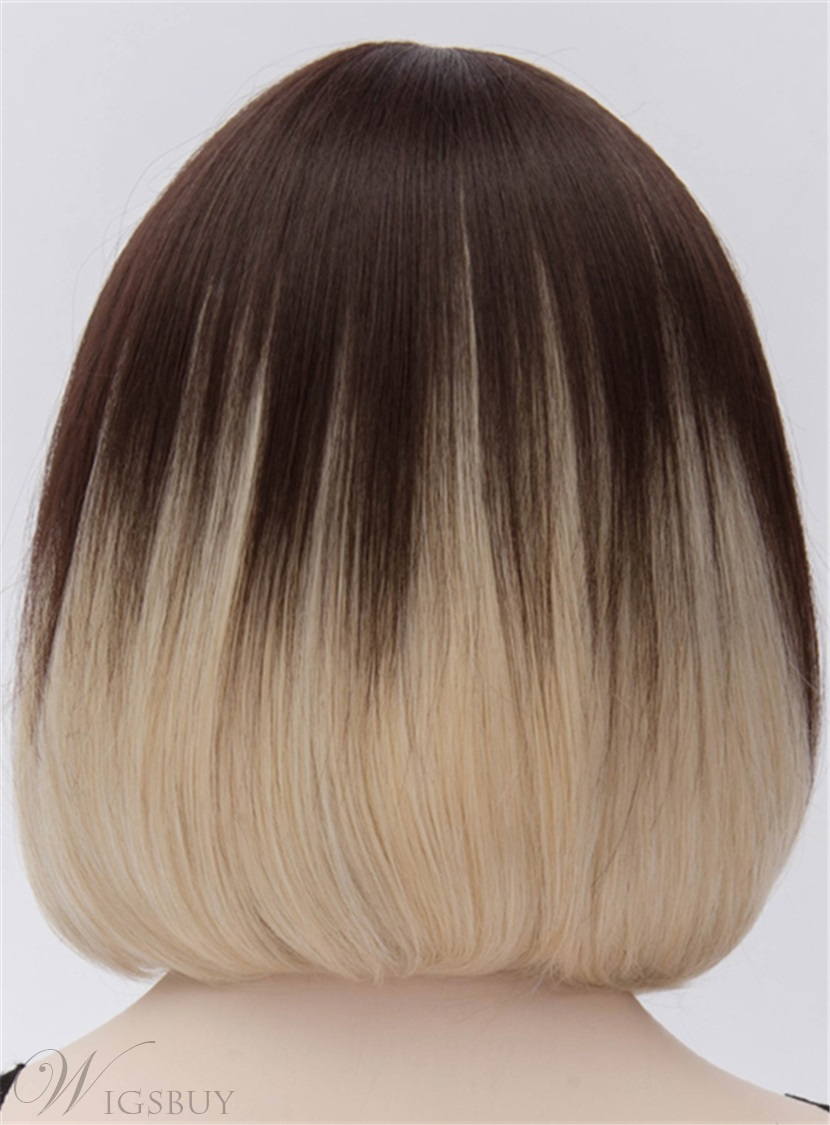 Beautiful Sadie Mid-Length Black-and-Blonde Bob Wig 12 Inches