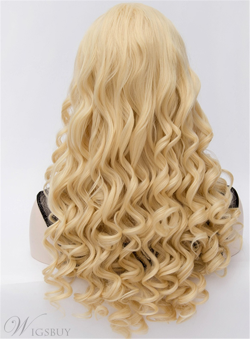 Voguish Long Curly Golden Hair Cosplay Party Wig 24 Inches