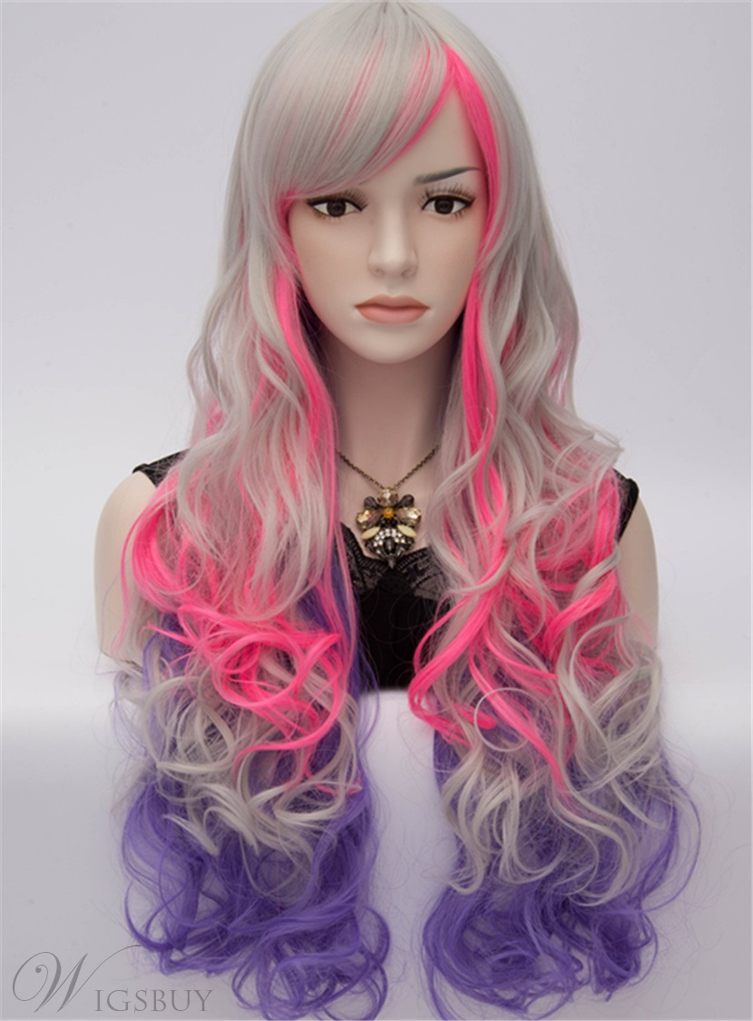 Harajuku Fashion Sexy Long Wavy Wig of Blonde, Pink and Purple Colors 28 Inches