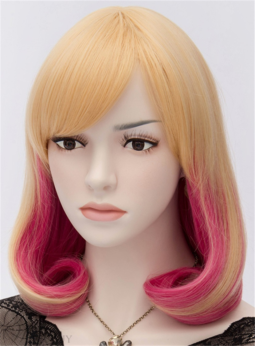 Cute Eye-Catching Bob Wig with Blonde and Rosy Red Colors 14 Inches