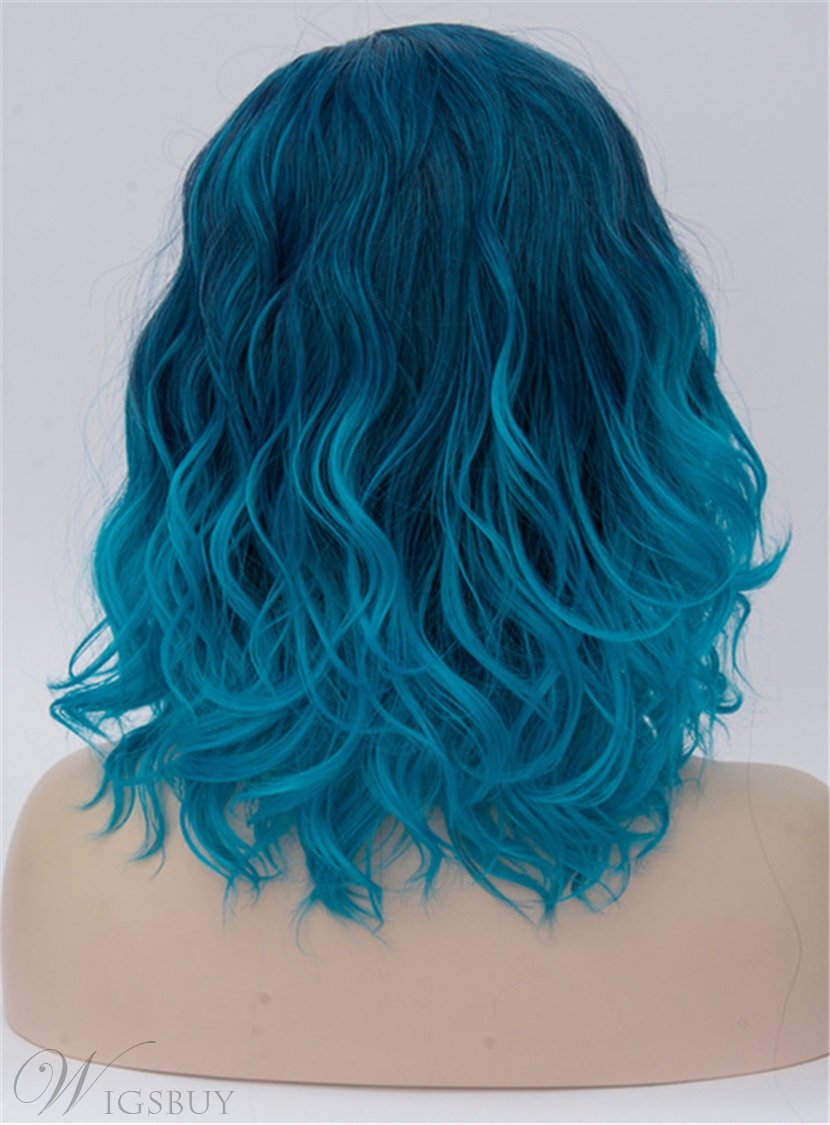 Medium Blue Ombre Kinky Curly Synthetic Hair Capless Cosplay Wigs 14 Inches