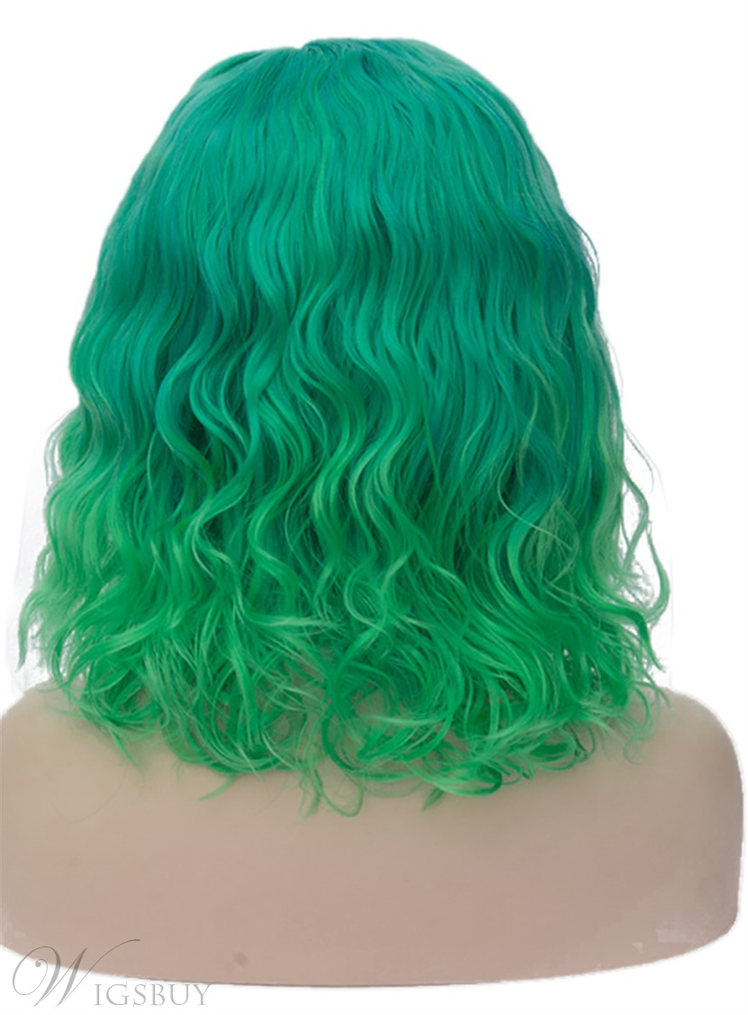 Medium Dark Green Kinky Curly Synthetic Hair Capless Cosplay Wigs 14 Inches