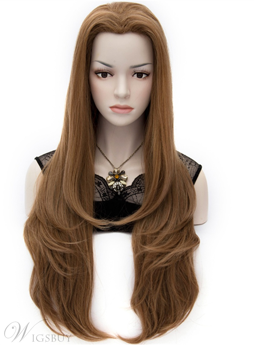 Layered Heat Resistant Flaxen Brown Natural Wavy Wig 30