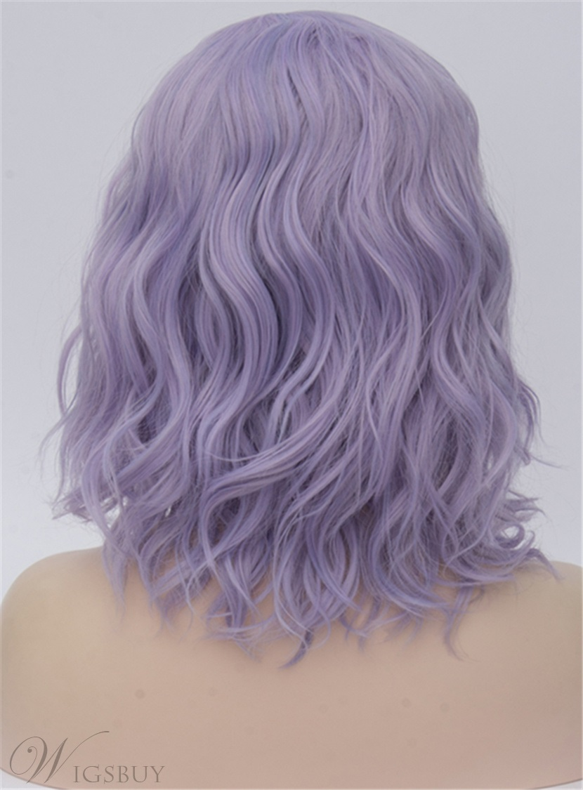 Medium Purple Kinky Curly Synthetic Hair Capless Cosplay Wigs 14 Inches