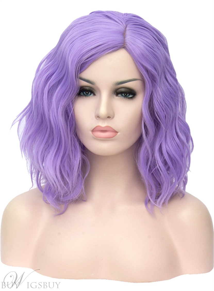 Medium Purple Kinky Curly Cute Synthetic Hair Capless Cosplay Wigs 14 Inches