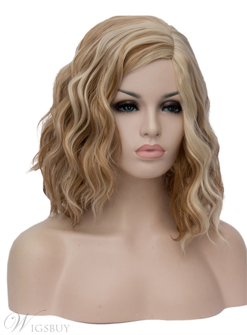 Medium Gold Kinky Curly Synthetic Hair Capless Cosplay Wigs 14 Inches
