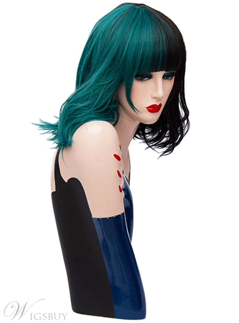 Medium Green Black Kinky Curly Bob With Bangs Hair Synthetic Hair Capless Cosplay Wigs 14 Inches