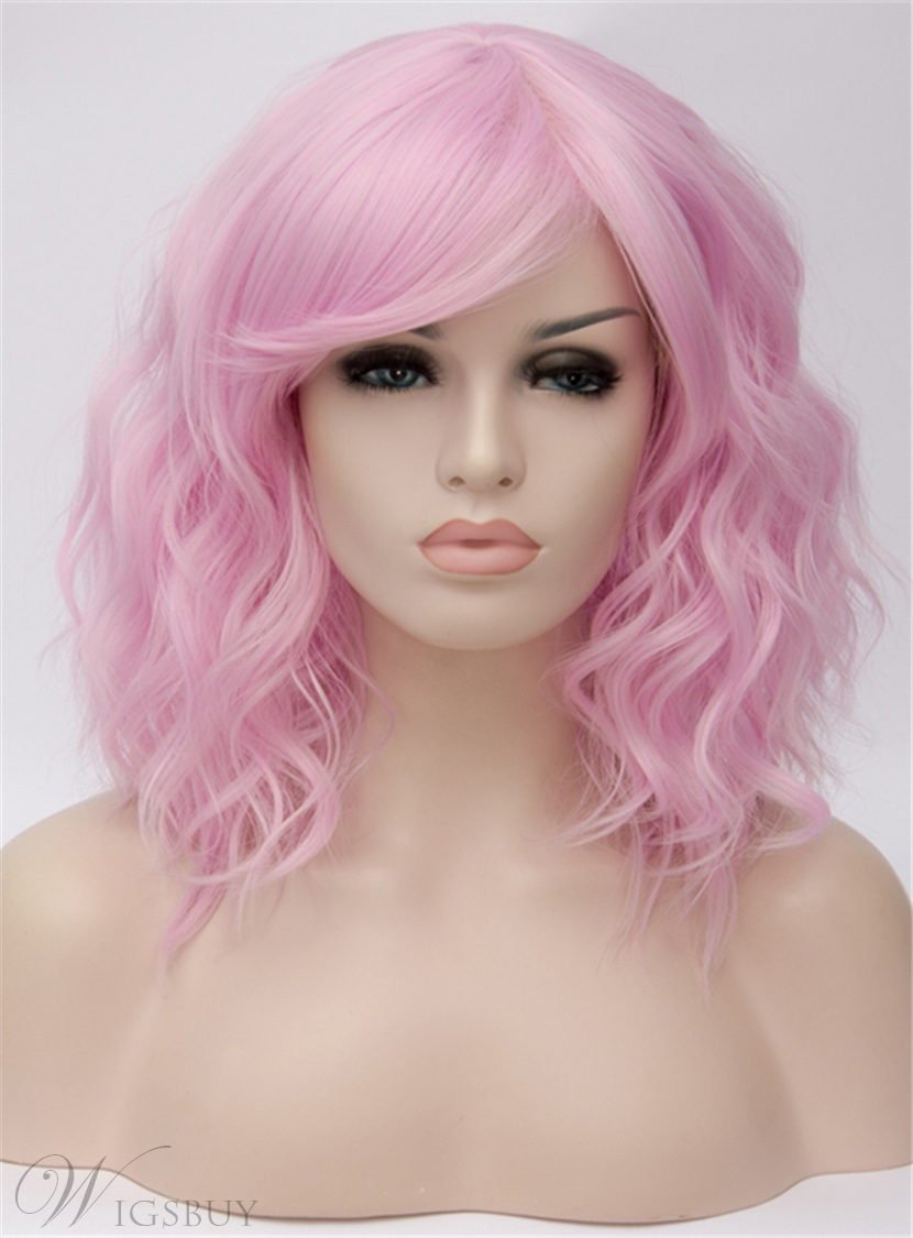 Pink Medium Loose Wavy Capless Synthetic Wig 14 Inches