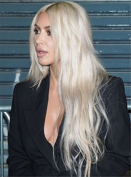 Kim Kardashian Elegant Straight Super Long Synthetic Hair Lace Front Cap African American Women Wigs
