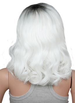 Medium Sexy Long Curly Ombre White Dark Root Capless Synthetic Hair Wig 12 Inches