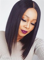 Blunt Cut Medium Straight African American Synthetic Hair Lace Front Wigs 14 Inches
